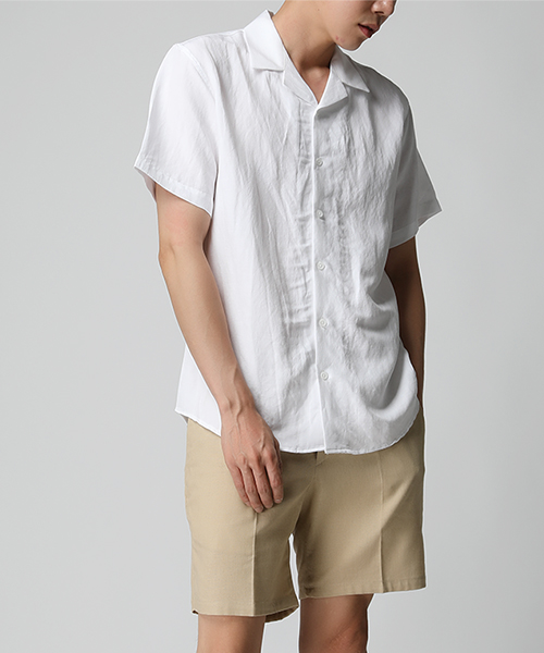 #SALE#Linen Open Collar Shirts(4col)린넨 오픈 칼라 셔츠