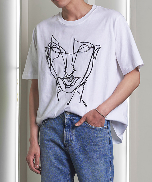 Mask Embroidery T-shirts(2col) 마스크 자수 티셔츠