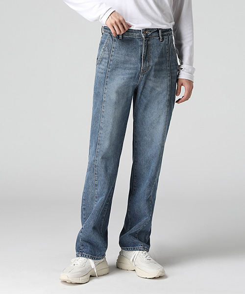 Straight Cutline Wide Jeans(1col) 일자 절개 와이드 진