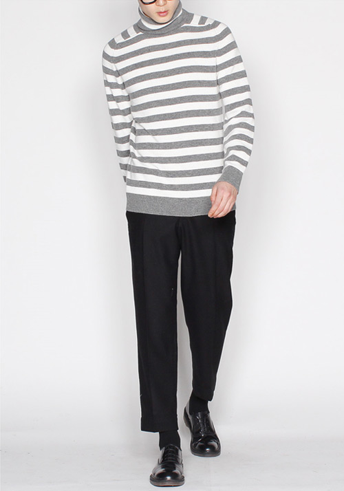 #SALE# Stripe Soft Turtleneck Knit(2col)생로* 단가라 터틀넥