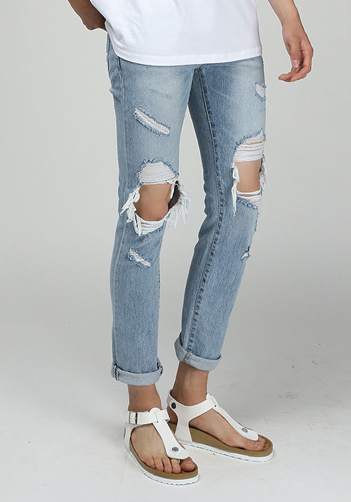 #SALE# Sky Blue Destroyed Jeans(1col)연청 디스트로이드진