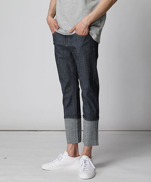 #SALE#Non-washing Roll-up Denim Pants(2col)생지 롤업 데님 팬츠